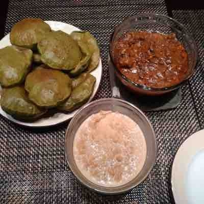 Palak puri ... Mutton korma nd kheer