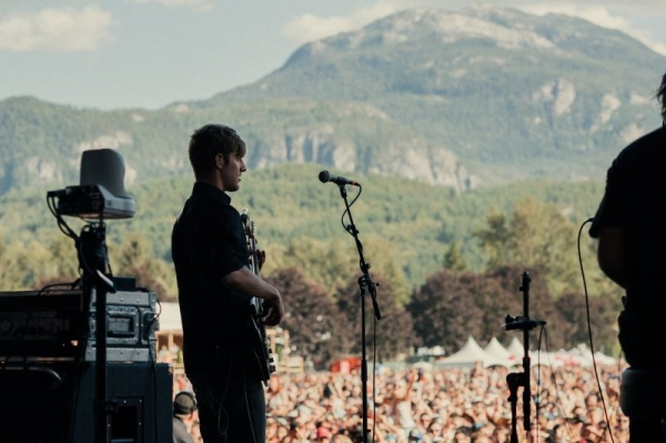Playing Bass for Vance Joy at Squamish Music Festival in Canada.