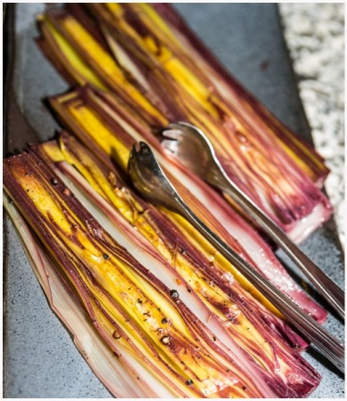 Leeks in red wine