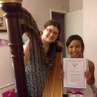 Me and my terrific harp student