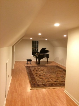 640 square feet Teaching space.  Monthly Soirees/ master classes, recitals with room for an audience of 40.  North Asheville, NC
