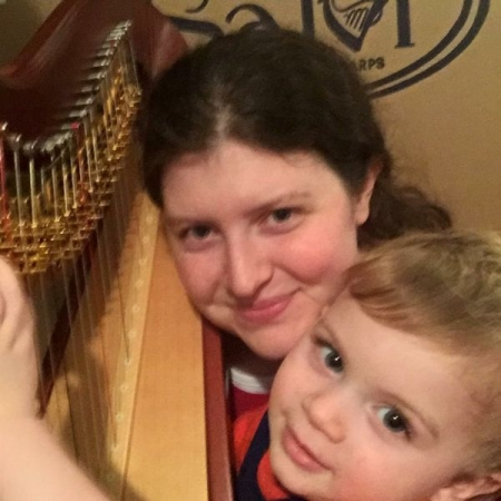 My son enjoying time at the harp