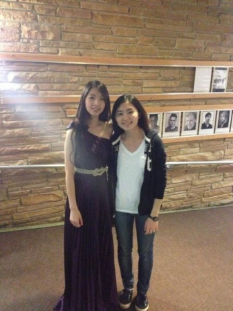 Taking photo with a friend after my piano recital