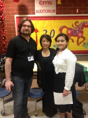 One of my Violin Students meeting up with Soon Hee Newbold after their performance!