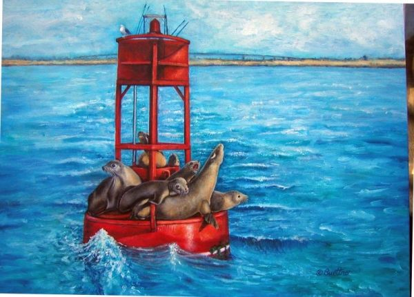 Sea Lions with Coronado Bridge, San Diego