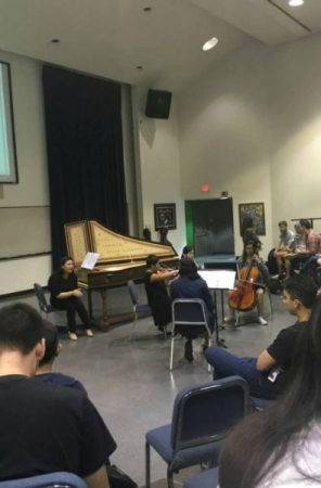 Teaching students in MUS 190 about structure and stylistic differences in the baroque music period. (Jan. 2016)