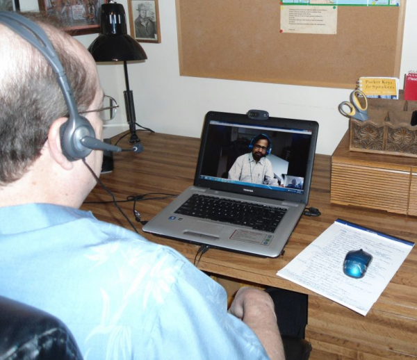 "Teaching a Texas student ""Public Speaking"" via SKYPE."