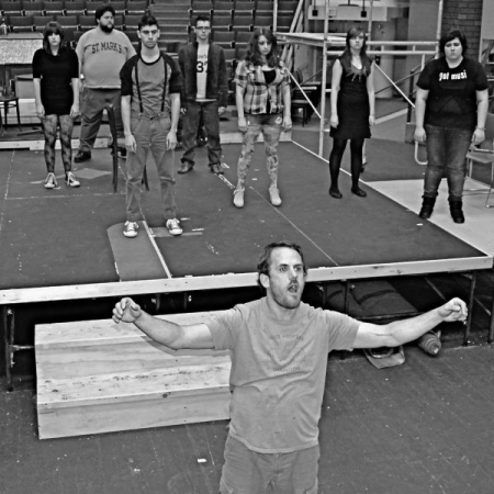 Conducting the cast during a rehearsal for Tick, Tick...BOOM
