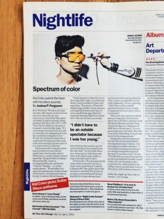 Featured in TimeOut Chicago's Nightlife section in 2011.