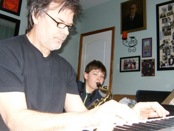 playing Keyboard with Tenor Saxophone Student Eri D.