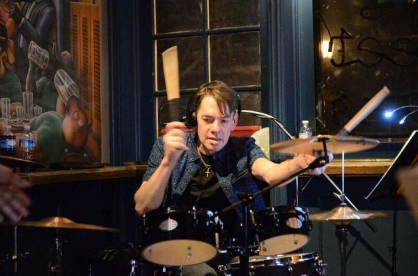Drum Instructor Chuck Manton at King Street Blues, Old town Alexandria VA-Photo by Paul McMahon