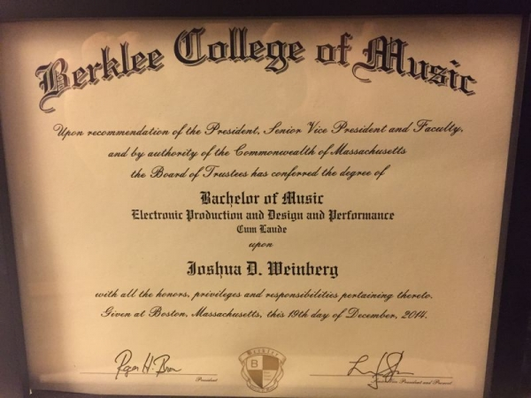 My double degree diploma from Berklee College of Music.