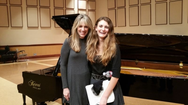 Patricia S. with student Julia Urone at Chapman University, March 2016. Julia performed on the MTAC Orange County Branch Honors Recital.