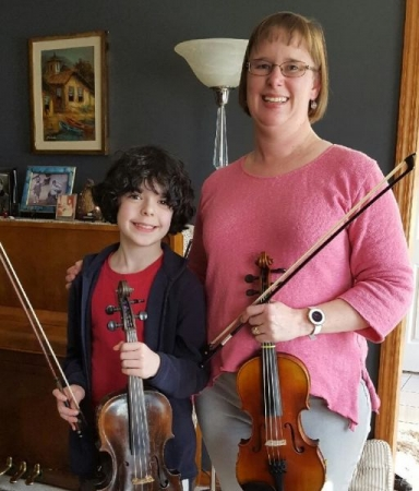 With one of my violin students.