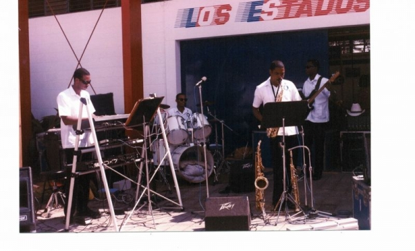 "Performing in Panama with the 79th Army band Jazz Ensemble ""High Voltage"""