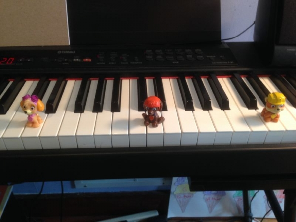 Paw Patrol helping a student find the D's on the piano