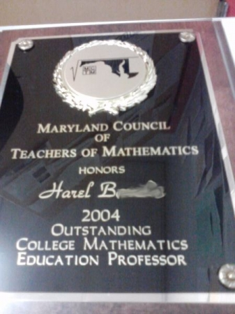 Maryland Council of Teachers of Mathematics Outstanding Teaching Award - Post-secondary level.