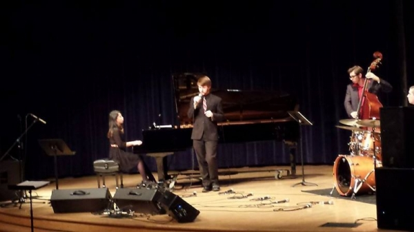 Eric singing at APU's Fall 2014 Vocal Jazz Concert.
