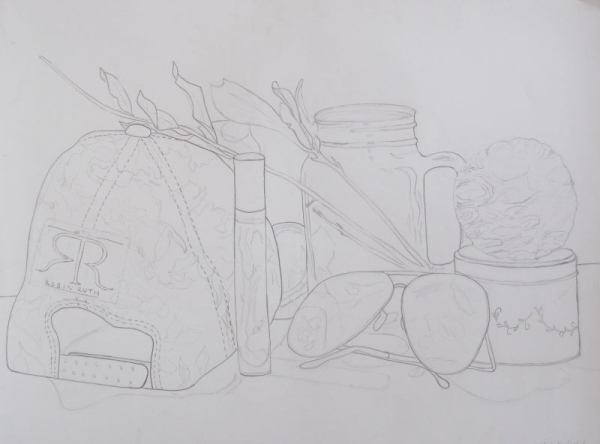 Student work, still life drawing. Graphite.
