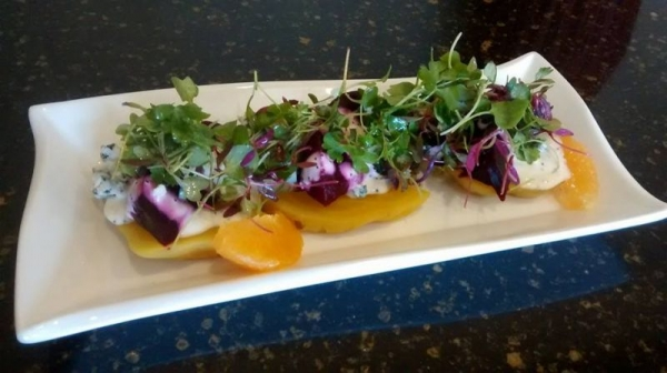 Roasted beet salad, poppy seed dressing, blue cheese, micro greens