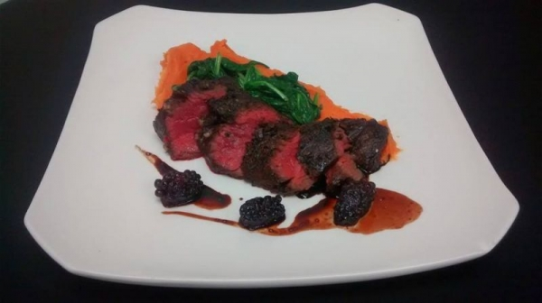 Flat Iron Steak, sweet potato velvet, brown butter spinach, blackberry balsamic reduction