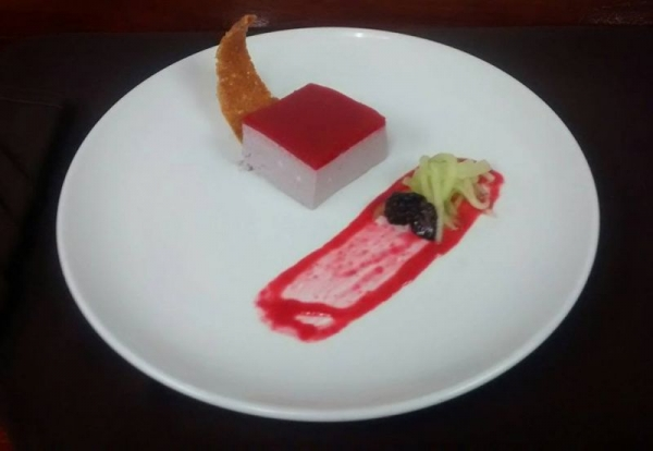 Blackberry Barvarian, Almond cookie, melon salad, raspberry coulis