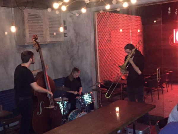 Performing with my trio in Queens, New York