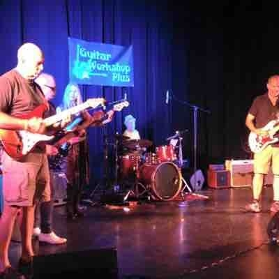Playing final concert of Guitar Workshop Plus RhythmSection Blues group At Cal State San Marcos