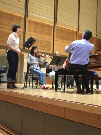 Rehearsing with the San Francisco Conservatory Baroque Orchestra