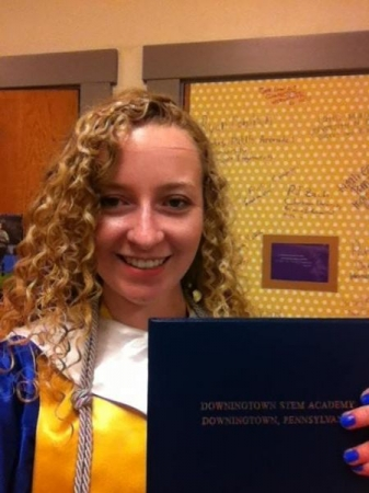 Me showing off my Downingtown STEM Academy Diploma after Commencement.