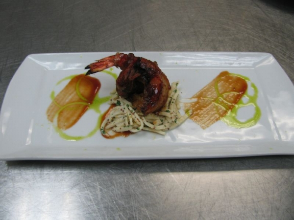 Bacon BBQ shrimp, celeriac salad, chive oil
