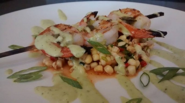 Jalapeño shrimp skewer, corn relish, scallion aioli