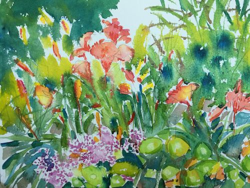 Lilies in a summer garden. A loose watercolor with spraying, layering, and wet-on-wet.