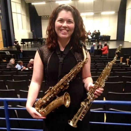 Post wind ensemble concert picture at Roberts Wesleyan College