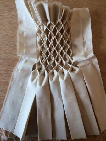 Fabric manipulation sample: smocking.