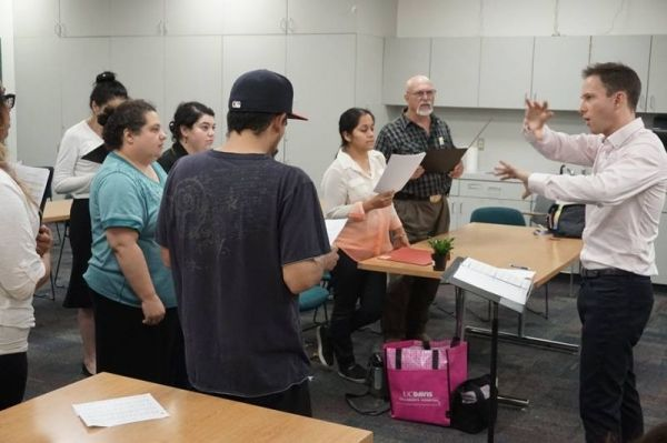 Conducting Los Angeles Mission College Choir in Rehearsal