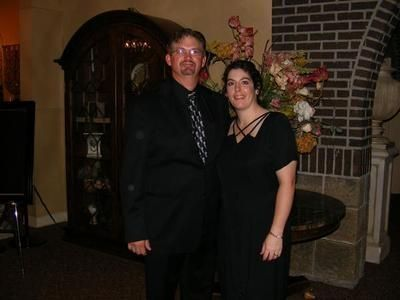 Lisa and her husband during intermission at a Concert where they performed in Pennsylvania.