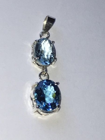 Blue and London Blue topaz with sterling silver pendant