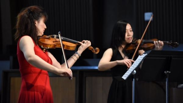 Me and my student play Bach double concerto 2016
