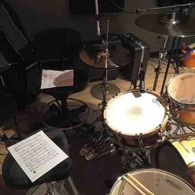 Set up in the studio for tracking songs on the John Sellers CD