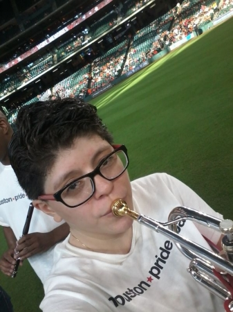 Getting ready to play the Star Spangled Banner at the Astros game with the Houston pride band August/03/2016