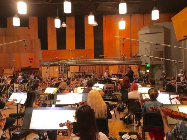 Nicolas conducts his original music with a 64-piece orchestra at the Newman Scoring Stage at 20th Century Fox in Los Angeles.