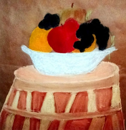 Student. Allison G. (Age 12) Pastel Fruit Bowl Still Life