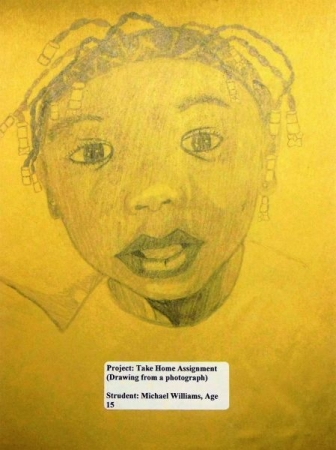 Student. Michael W (Age 15) - Take Home Portrait Drawing Homework
