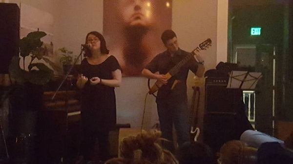 Playing with Brianna Rancour at Mantra Coffee for our record label launch party.