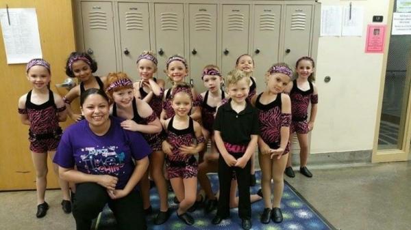 backstage at recital 2015 with K1 Tap/Jazz/Ballet combo class