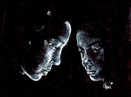 White colored pencil on black paper.
