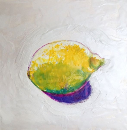 "Lemon ; encaustic on board; 6"" x 6"""