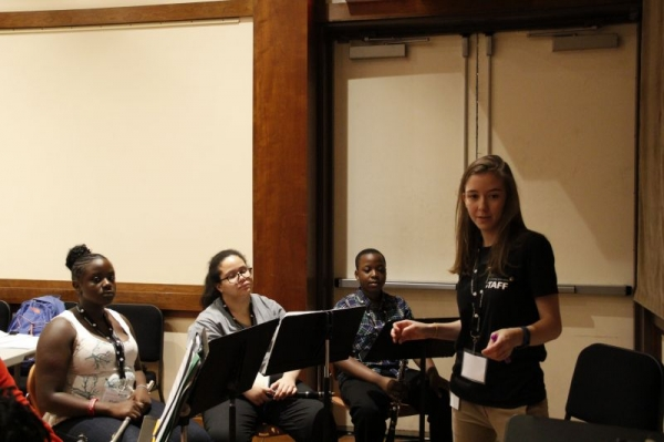 Anne Friend coaching woodwind students at the Lincoln Center Education Audition Bootcamp in August 2015.