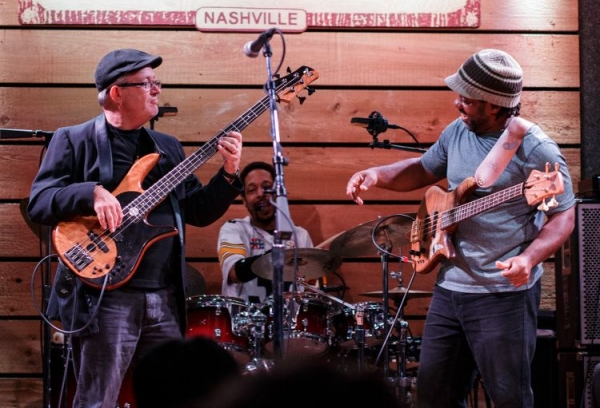 Onstage with Victor Wooten & JD Blair.